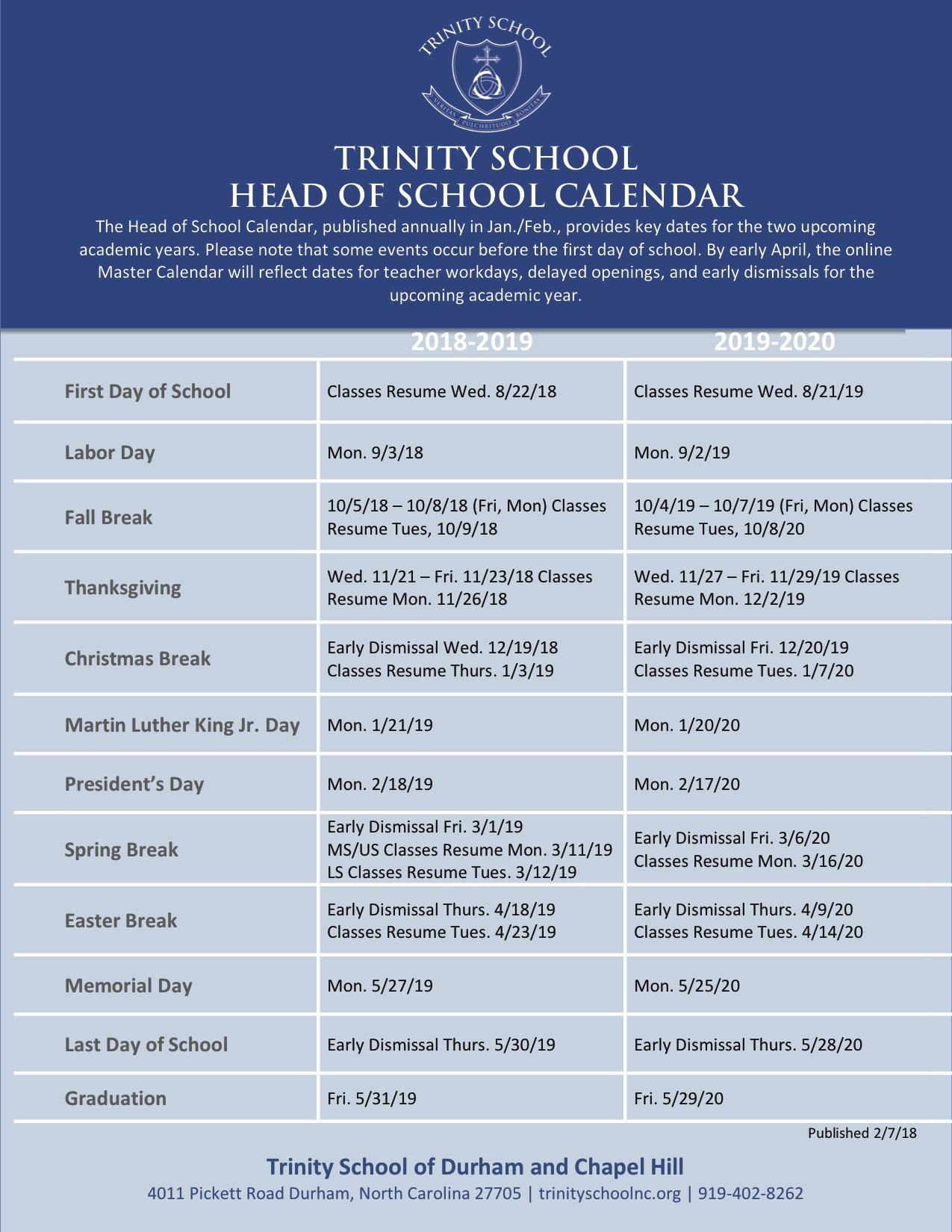 Calendar Trinity School Of Durham And Chapel Hill