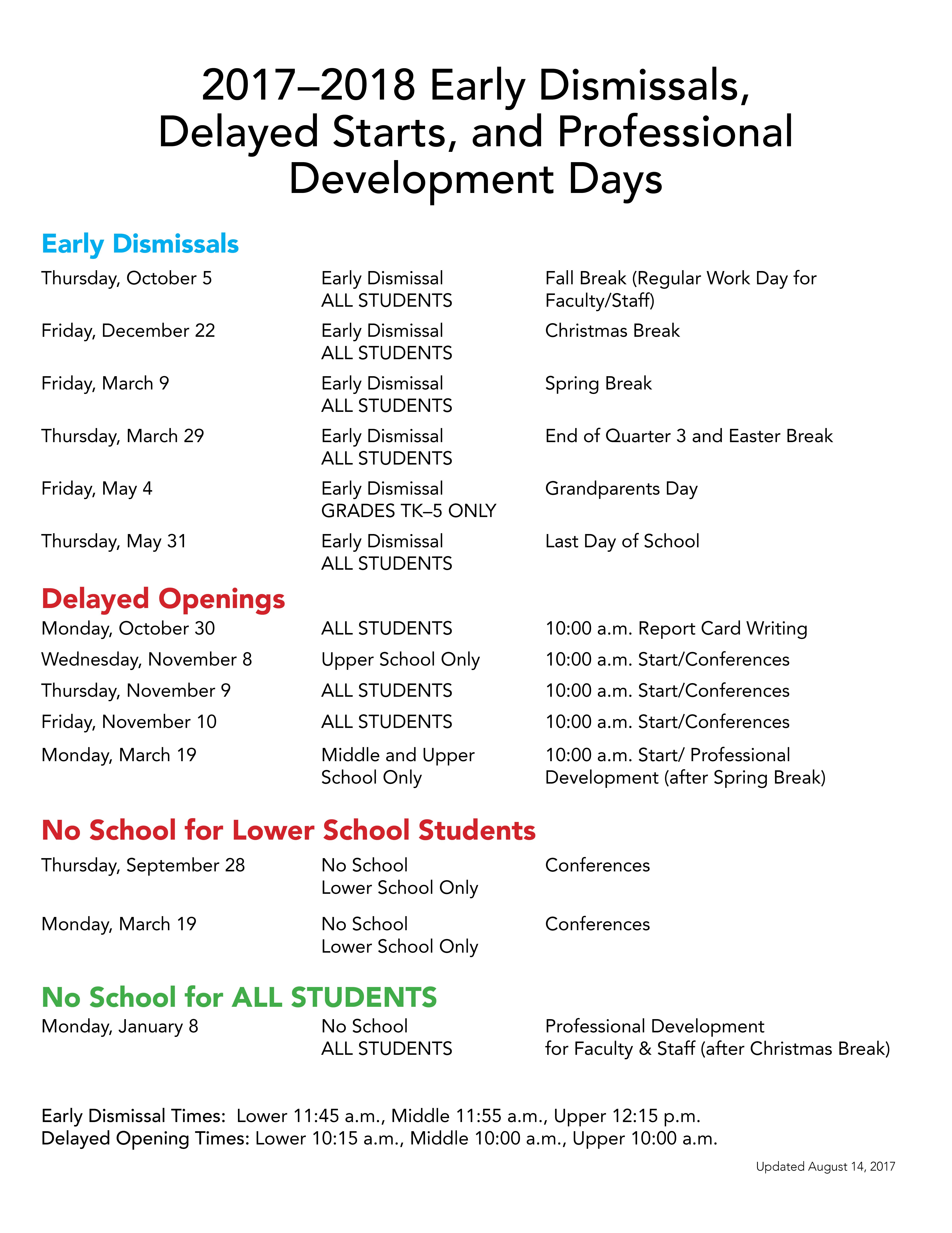 Calendar - Trinity School of Durham and Chapel Hill